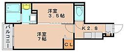 サンコー西月隈[1階]の間取り
