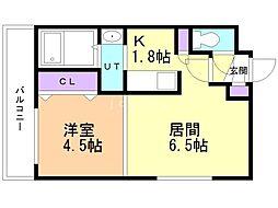 コートロティ南円山 4階1LDKの間取り
