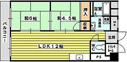 モリハイム豊里III 4階2LDKの間取り