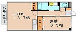 ルミエール月隈[1階]の間取り