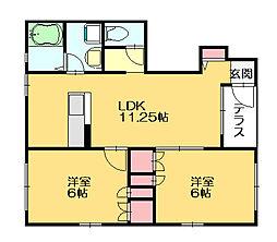 ハーマジェスティ[1階]の間取り