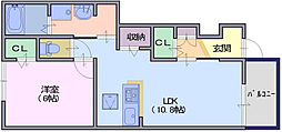 クレールコート2 1階1LDKの間取り