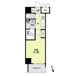 名古屋市営鶴舞線 丸の内駅 徒歩8分の賃貸マンション 5階1Kの間取り