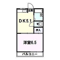 コーポ岡本 1階1DKの間取り