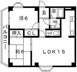 エスポワール藤ヶ丘[B102号室号室]の間取り