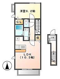 ボンヌシャンスd[2階]の間取り