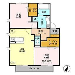 仮)D−roomセントラルパークB[203号室]の間取り