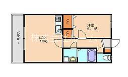 JR香椎線 宇美駅 徒歩20分の賃貸アパート 1階1LDKの間取り
