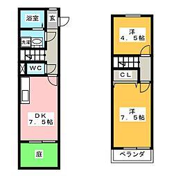 [テラスハウス] 岐阜県岐阜市水海道3丁目 の賃貸【/】の間取り