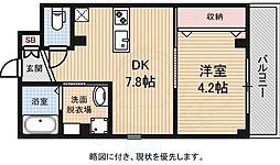 Osaka Metro御堂筋線 あびこ駅 徒歩8分の賃貸マンション 3階1DKの間取り