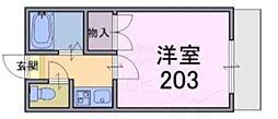 大和高田第17マンション 2階1Kの間取り