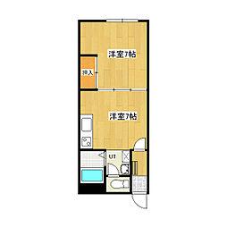 スリーエーマンション3 1階1DKの間取り