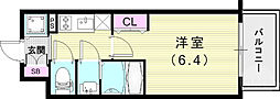 エスリード神戸兵庫駅アクアヴィラ 5階1Kの間取り
