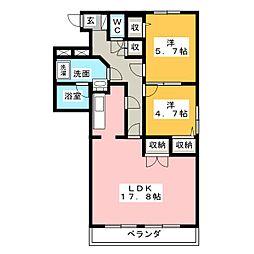 ガーデンヴィラ欅[2階]の間取り