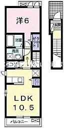岡山県岡山市中区福泊丁目なしの賃貸アパートの間取り