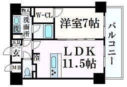 プレサンス THE 神戸 9階1LDKの間取り