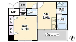 デルファーレ神戸三宮[201号室]の間取り
