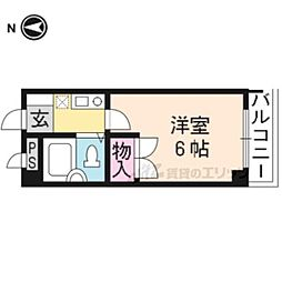 阪急京都本線 桂駅 徒歩6分の賃貸マンション 2階1Kの間取り