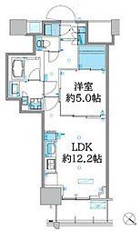 パークアクシス豊洲キャナル 12階1LDKの間取り