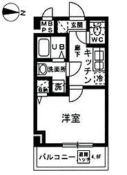 JR京浜東北・根岸線 山手駅 徒歩10分の賃貸マンション 5階1Kの間取り