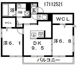 東住吉区田中ハイツ[3階]の間取り