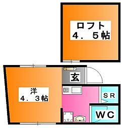 東京都北区志茂4の賃貸アパートの間取り