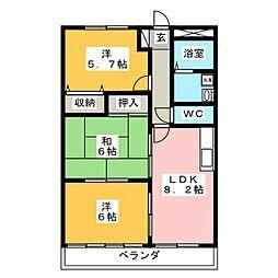 グランディール雅 3階3LDKの間取り