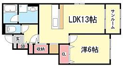 兵庫県神戸市北区山田町下谷上砂川の賃貸アパートの間取り