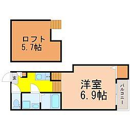 愛知県名古屋市昭和区白金1丁目の賃貸アパートの間取り