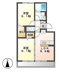 セジュール 三ツ屋 A[2階]の間取り