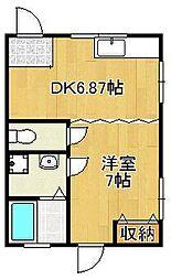 ジョイフルマタケB 1階1DKの間取り