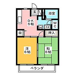 コーポはなみずきA・B[2階]の間取り