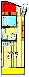 JR常磐線 亀有駅 徒歩9分の賃貸マンション 3階ワンルームの間取り