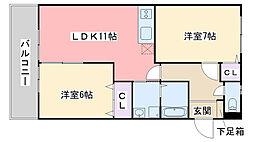 福岡県福岡市西区富士見2丁目の賃貸アパートの間取り