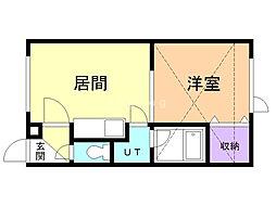 ピュア2000 by URBAN 2階1DKの間取り