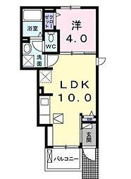 JR山陽本線 五日市駅 3.3kmの賃貸アパート 1階1LDKの間取り