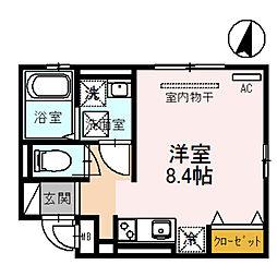 アビタシオン栄 1階ワンルームの間取り