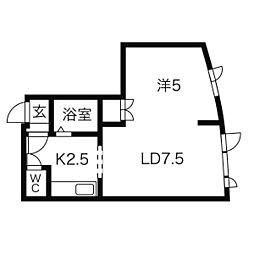 トキメック円山並木通 II 2階1DKの間取り