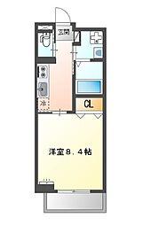 堺市堺区中三国ヶ丘町賃貸マンション新築 3階1Kの間取り