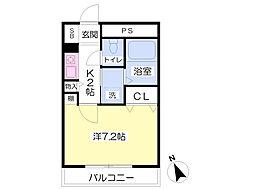 JR阪和線 熊取駅 バス10分 朝代停下車 徒歩2分の賃貸マンション 1階1Kの間取り