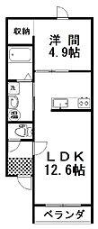 ラ・パーチェ白樺 2階1LDKの間取り