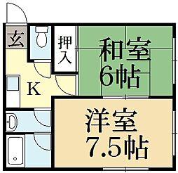 コーポ町柳[2階]の間取り