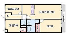 JR播但線 野里駅 徒歩23分の賃貸マンション 3階3LDKの間取り