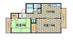 兵庫県神戸市須磨区白川台4丁目の賃貸アパートの間取り