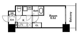 エスリード福島グレイス 4階1Kの間取り