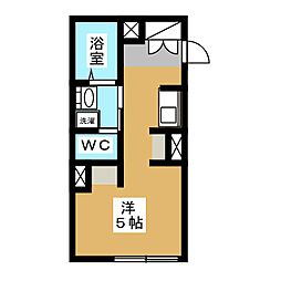ヴィラ・フローレンス 2階ワンルームの間取り