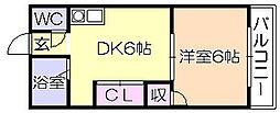 ファミリ-ハイツ津福B[106号室]の間取り