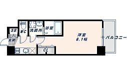アドバンス大阪フェリシア 8階1Kの間取り