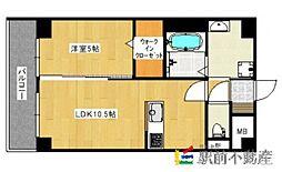 西鉄天神大牟田線 西鉄久留米駅 徒歩12分の賃貸マンション 5階1LDKの間取り