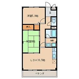 愛知県一宮市今伊勢町新神戸字郷中の賃貸マンションの間取り